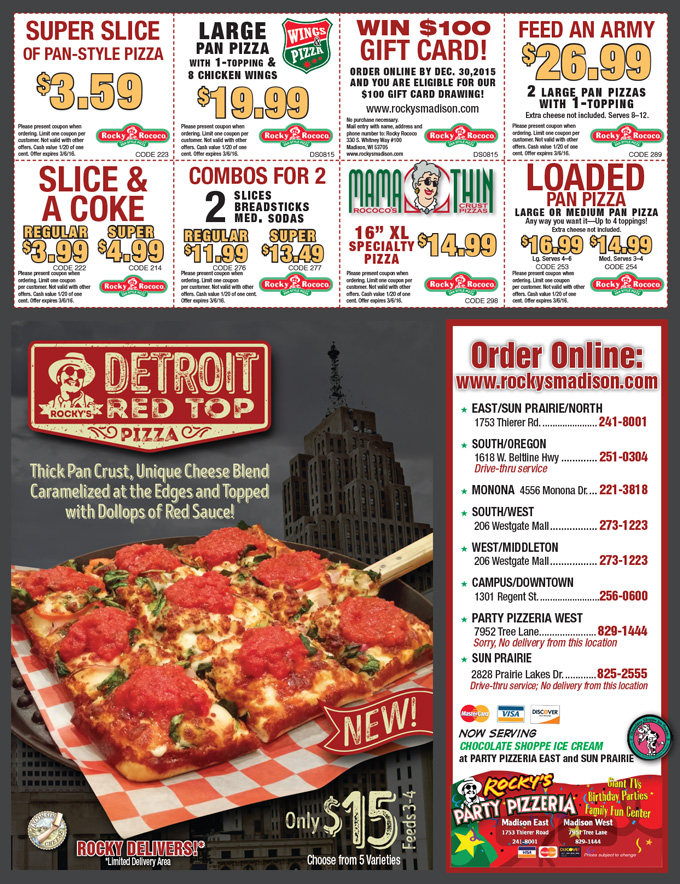 Rocky rococo pizza coupons