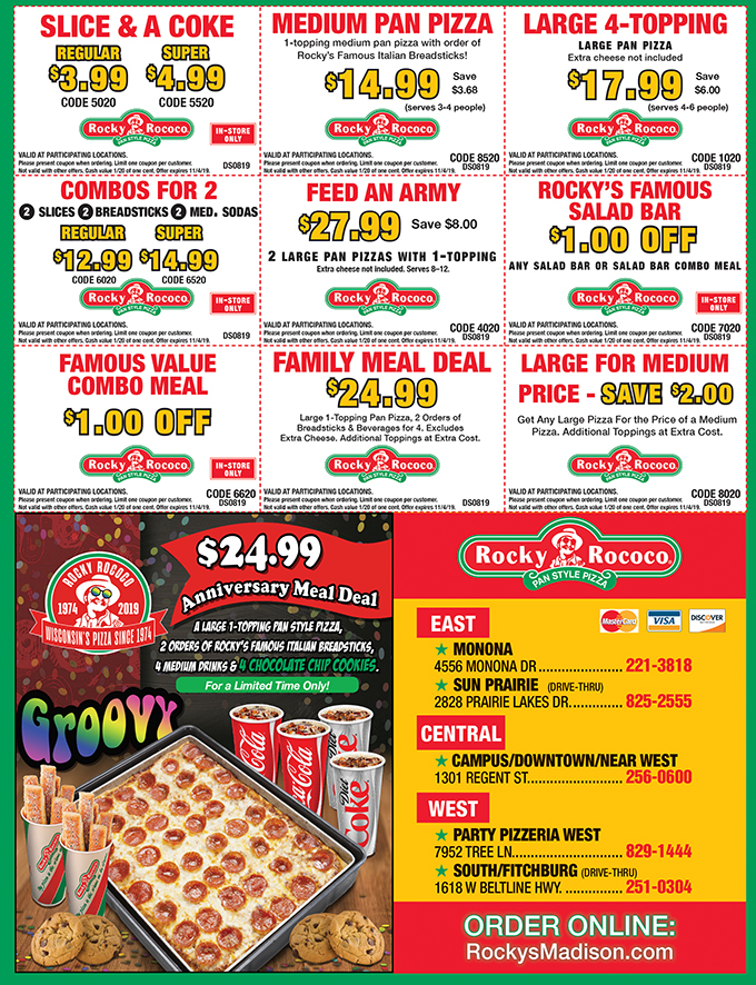 photograph relating to Clipper Magazine Printable Coupons named Rocky Rococos Pizza Discount coupons Funds and SenseDollars and